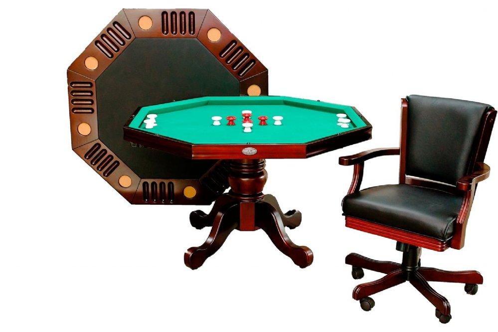 3 In 1 48 Octagon Poker Bumper Dining In Mahogany