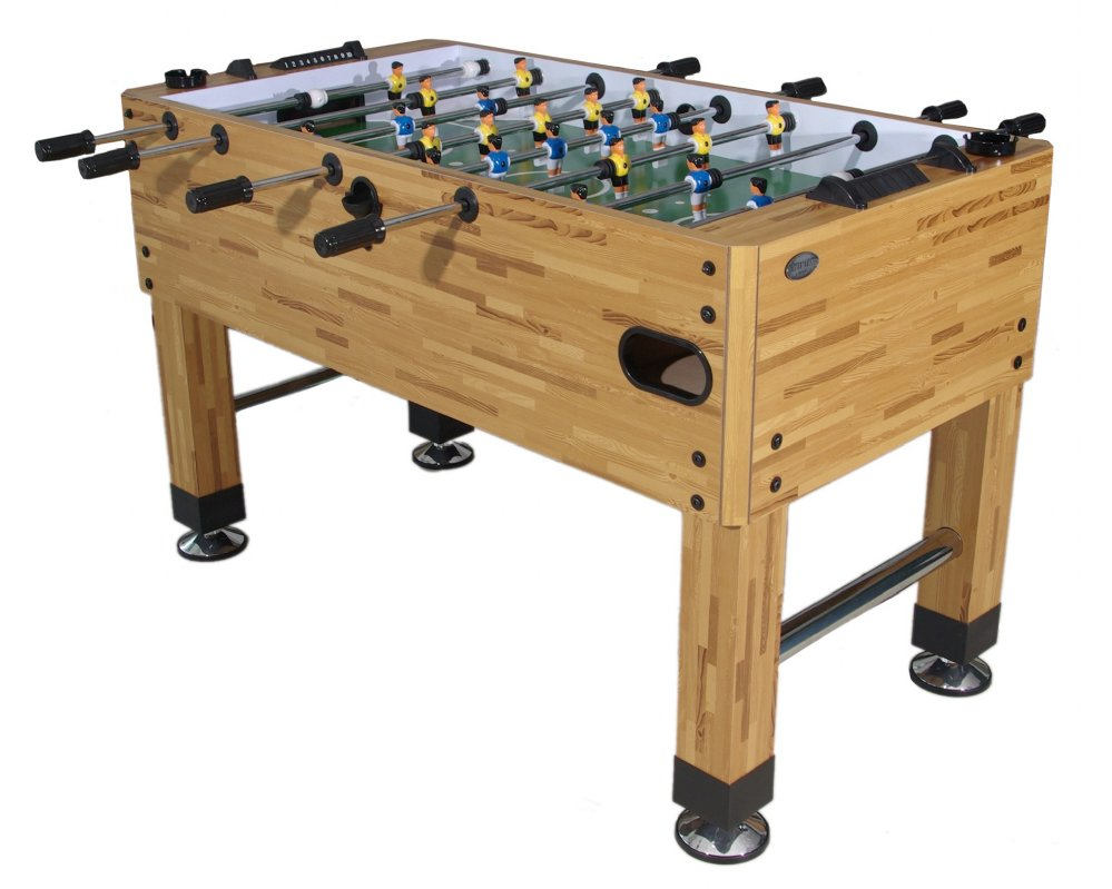 ALL NEW UPGRADED Premium Foosball Table In Butcher Block With Both - Single goalie foosball table
