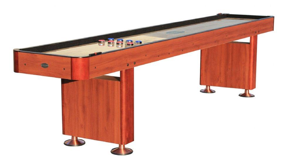The standard 9 foot shuffleboard table in cherry for 12 foot shuffleboard table dimensions