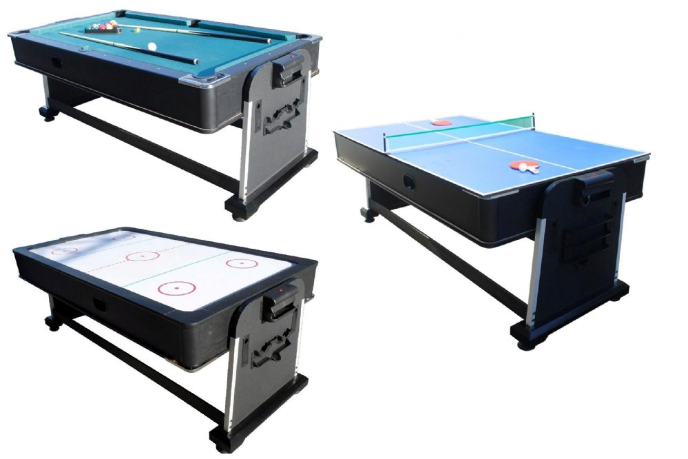3 In 1 Rotating Multi Game Table   Pool, Air Hockey U0026 Table Tennis