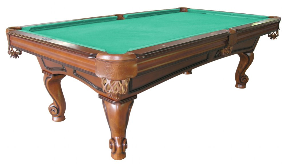 Furniture Pool Table With Rams Horn Leg In Antique Walnut