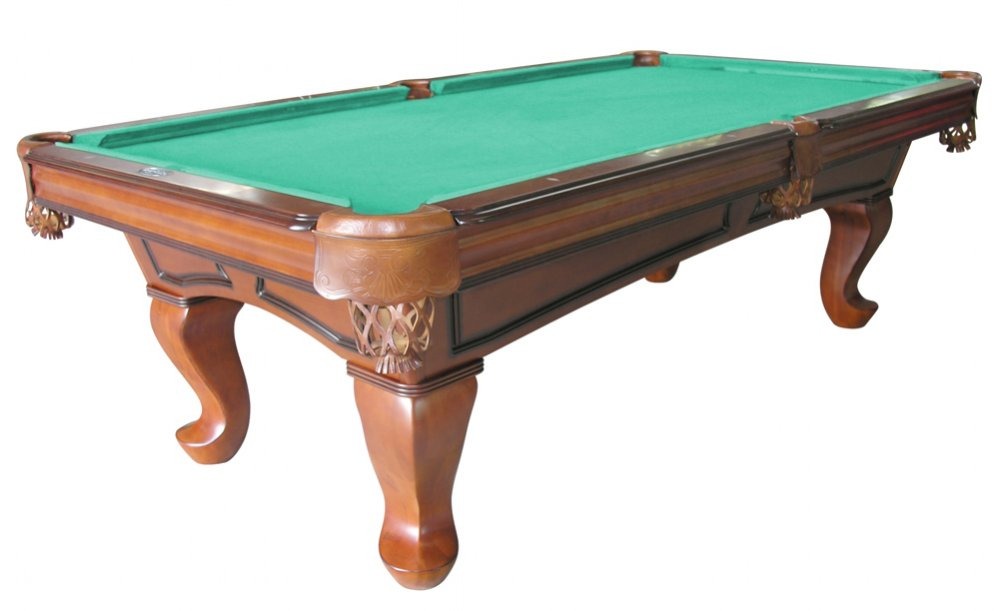 Furniture Pool Table With Spoon Leg In Antique Walnut